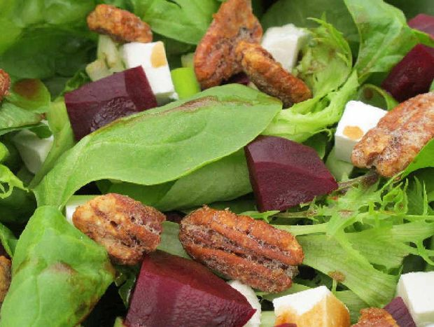 Beetroot and feta salad with candied pecans.