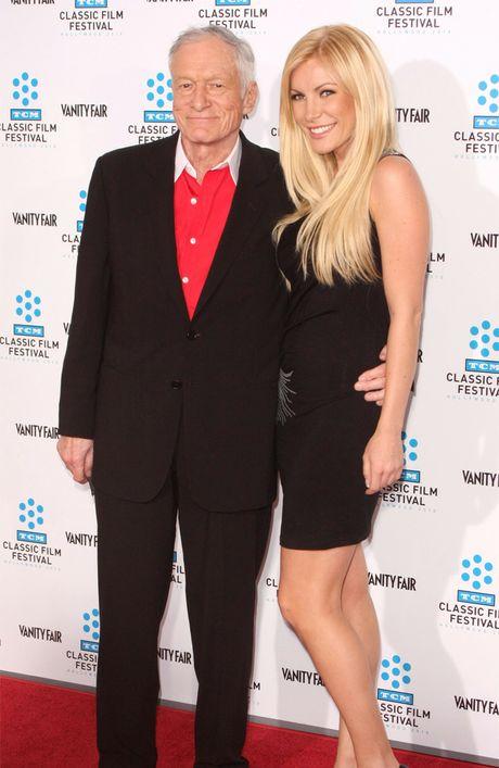 Hugh Hefner and fiance Crystal Harris.