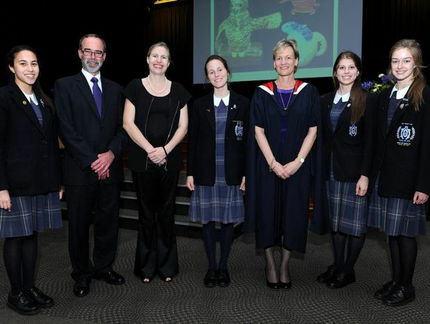 Celebrating the achievements at the Fairholme College awards are (from left) Stephanie Benitez (Proxime Accessit), Mr Ian Andersen (Chairman of the Fairholme College Board), Ms Miranda Mason (Guest Speaker), Jaime Painter (Dux), Mrs Linda Evans (Fairholme College Principal), Lily Stone and Alysha Martin and (who shared the Ordine Tertia prize).