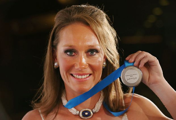 Sam Stosur of Australia poses after winning the Newcombe Medal during the 2012 John Newcombe Medal at Crown Palladium on December 3, 2012 in Melbourne.