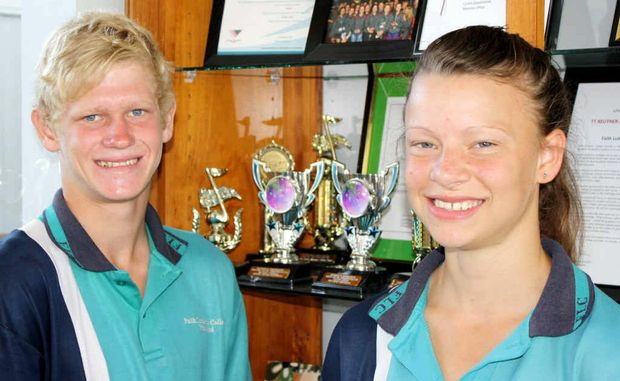 Faith Lutheran College's outstanding athletes Josh Stockill (left) and Cassie Purdon.