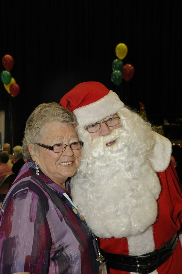 The annual Mayor's Over 80's Christmas party at the Clive Berghofer Recreation Centre, Ralph Cockle as Father Christmas with Shirley Mallet. Photo: Bev Lacey / The Chronicle