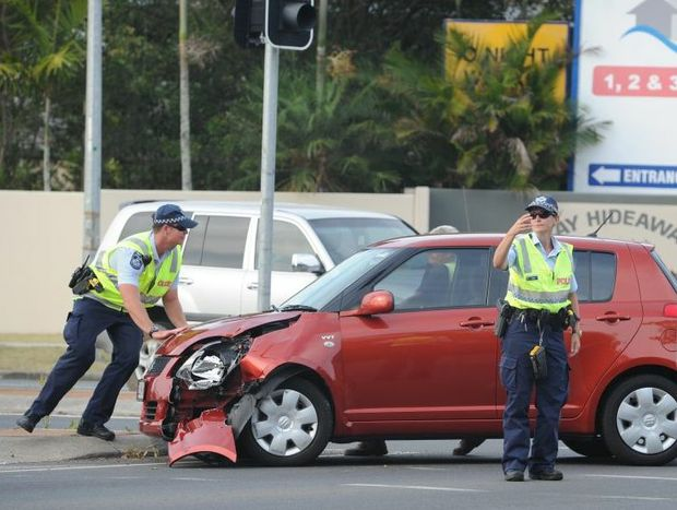 Police on the scene of a crash at the intersection of Ibis Boulevard and Maryborough-Hervey Bay Rd in Eli Waters.