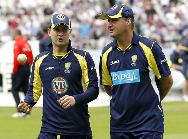 Australia's Captain Michael Clarke (L) and Head Coach Mickey Arthur.