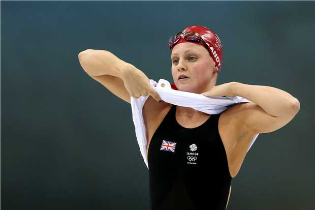 Ellen Gandy of Great Britain prepares to compete the second semifinal heat of the Women's 100m Butterfly on Day 1 of the London 2012 Olympic Games on July 28, 2012.