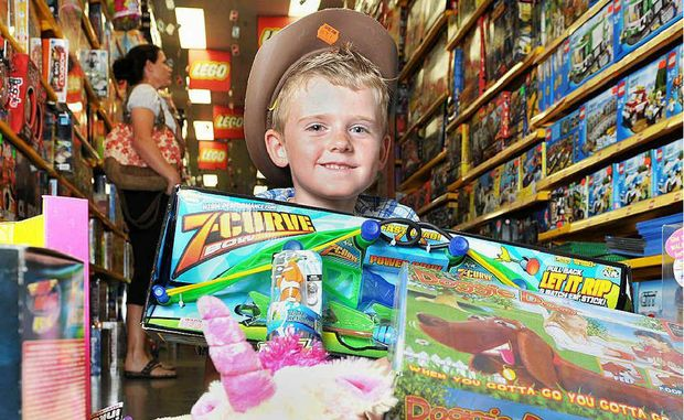 TOY HEAVEN: Cassidy Manttan got his hands on all the latest toys at Mr Toys Toyworld on Tuesday.