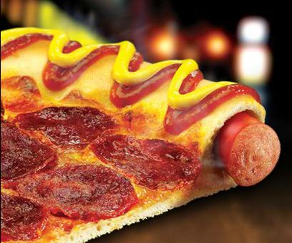 Pizza Hut's hot dog pizza.