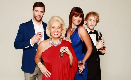 From left, Kris Smith, Prue MacSween, Chloe Maxwell and Josh Thomas star in the TV series Celebrity Come Dine With Me Australia.