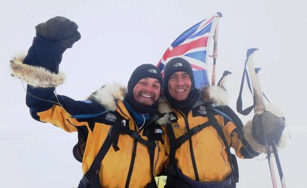 James Castrission, left, and Justin Jones in a scene from the documentary Crossing The Ice, airing on Nat Geo Adventure on Australian pay-TV.