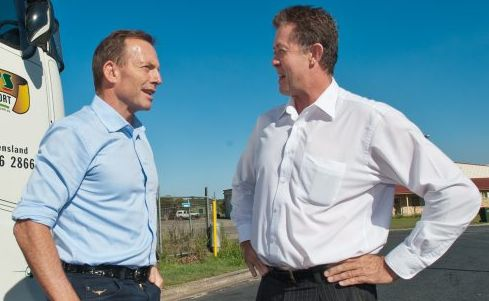 Tony Abbott drove a truck along the highway and dropped in to Coffs Harbour to announce a Pacific Highway Funding scheme with Cowper MP Luke Hartsuyker. Photo: Rob Wright / The Coffs Coast Advocate