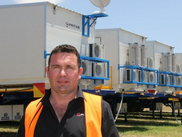 Pritab managing director Darren Cardiff in front of the mobile camp destined for Rio Tinto's Operations in WA.