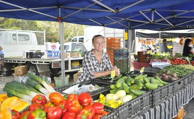 Rebecca Woods of Everest Farm at the Byron Farmer's market. Photo Mireille Merlet-Shaw / The Northern Star