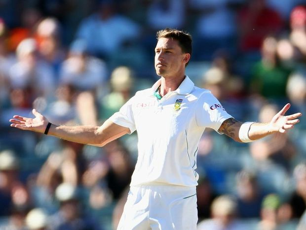 Dale Steyn of South Africa celebrates winning the match by taking the wicket of Nathan Lyon of Australia during day four of the Third Test Match between Australia and South Africa on December 3, 2012.
