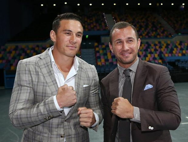 Quade Cooper and Sonny Bill Williams pose for a photograph during a press conference at Brisbane Entertainment Centre on November 26, 2012 in Brisbane, Australia.