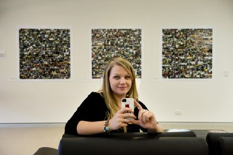 Jess Martin with the three montages created from photographs off her phone.