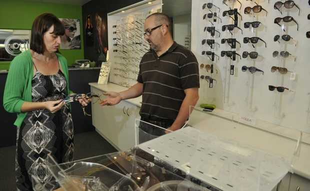 Shannon Smith and Andrew Speed. Thieves stole 190 pairs of brand name sunglasses from Outlook Eye Centre, Southtown.