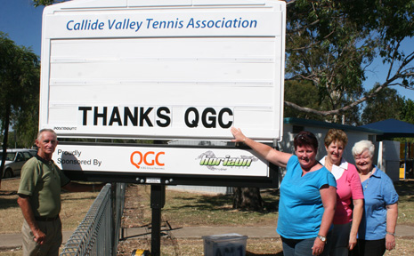 THANKS Callide Valley Tennis Association Noel White, Julie White, Peggy Sack and Clarice White test out their new notice sign from QGC community funds grant.