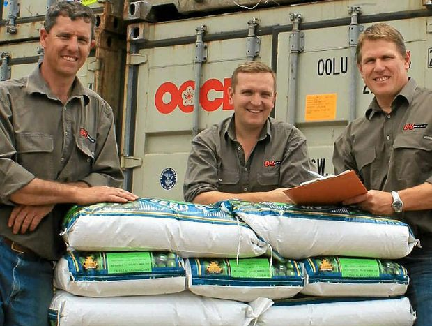 GROUND READY: With mung bean seed ready for the upcoming planting season are B&L; seed and grain operations manager Garry Young, senior grain merchant Andrew Webster and director and manager Rob Anderson.