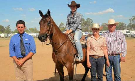 GOLD GELDING: The top-priced gelding CTK Hectare sold for $15,000 and stands with (from left) GDL Dalby's Brendan Gilliland and Amelia, Kerry Ann and Campbell Tonkin of Tumlong, Barraba in New South Wales who offered the horse to Ben Lehman of Inverell.