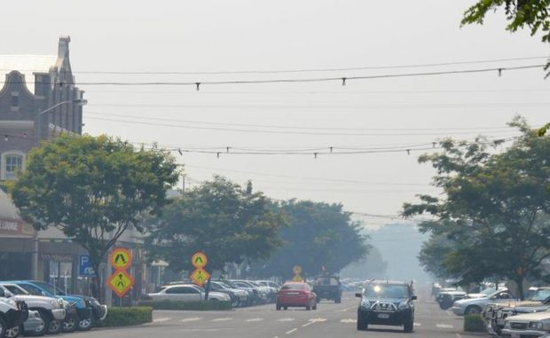 The smoke haze over Roma and the surrounding district is being caused by fires north of Injune.