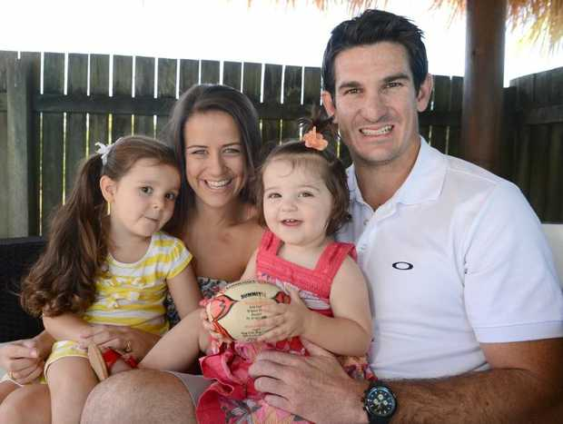 Chris Flannery is back home on the Sunshine Coast wife his wife Renee, daughters Layla,3, and Evie,15 months. Photo:Warren Lynam / Sunshine Coast Daily