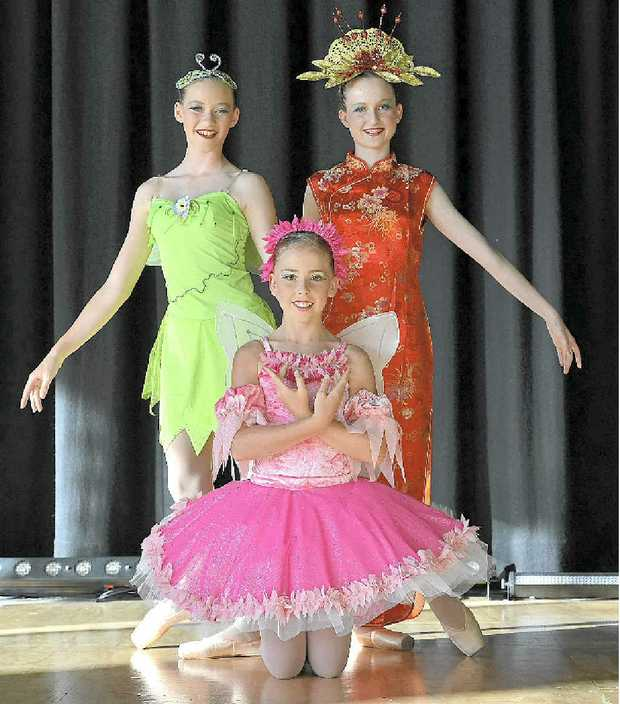 HARD WORK: Passionate dancers (from left) Rebecca Kerr, Tiaani Blunt and Maggie Bryan.