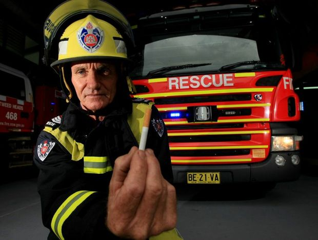 Senior Fire fighter Greg Mackay says don't throw your cigarette butts out.