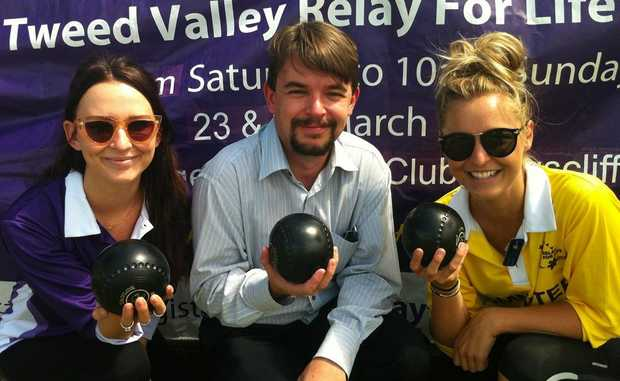 Rhian Paton-Kelly (Cancer Council), Michael Armstrong, Emily Pettitt (Cancer Council) at Sunday's dedication.