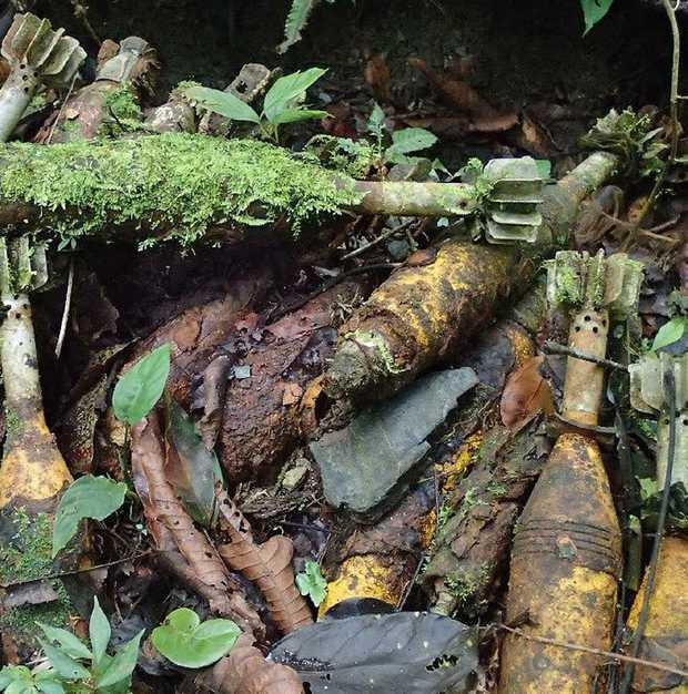 Dumped mortars from the Second World War.