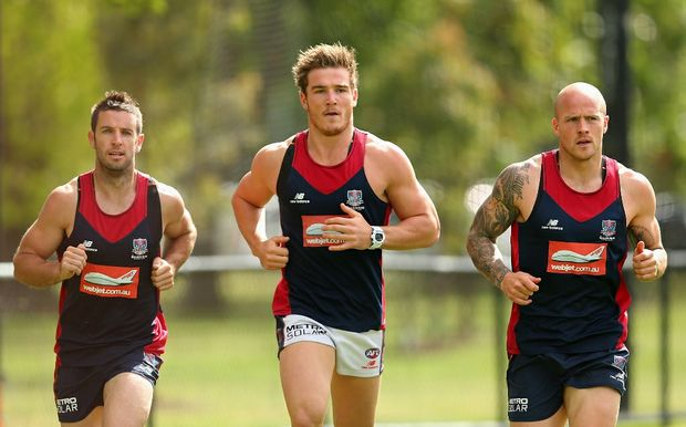 Shannon Byrnes, Luke Tapscott and Nathan Jones of the Demons run during a Melbourne Demons AFL training session on November 9, 2012.