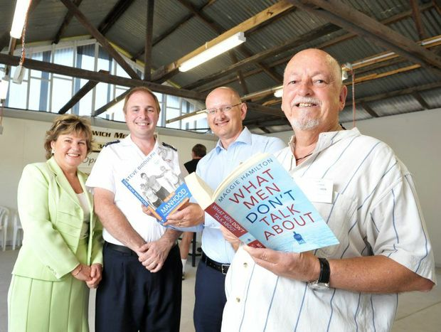 Jo Ann Miller, Brad Strong from the Salvation Army, Shayne Neumann and Ipswich Men's Shed's Dean Olafsen at the opening of the new Bundamba shed.
