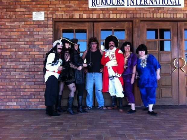 Cast of the Pirates of the Curry Bean Left to right: Cheryl Hamilton, Tania Scherf, Ruby Slipperz, Tonie Prasser, John Schneider, Shireen Prasser, Sally Andreatta.