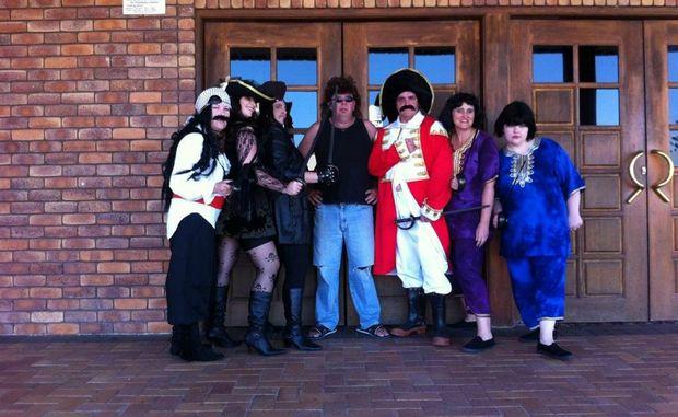 Cast of the Pirates of the Curry Bean Left to right: Cheryl Hamilton, Tania Scherf, Ruby Slipperz, Tonie Prasser, John Schneider, Shireen Prasser, Sally Andreatta.