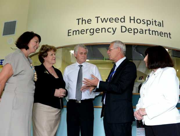 Melinda Pavey, Jillian Skinner, Geoff Provest, Tim Free and Hazel Bridgett at Tweed Hospital.