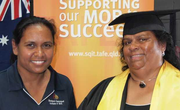 THE GRADUATE: Nurunderi TAFE's Margaret Cobbo (left) with Elizabeth Kennell.