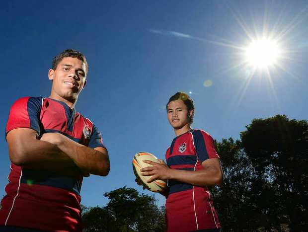 TIME TO SHINE: Talented Ipswich State High footballers Derek Oram and Junior Sione will join NRL team Cronulla Sharks for a training camp this week.