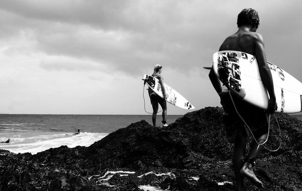 Keen surfers at Snapper Rocks.
