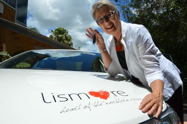Lismore mayor Jenny Dowell picks up the keys to her new mayoral motorcar.