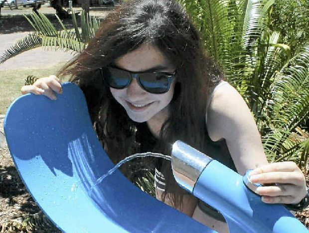 WATER FOUNTAIN: Fi Allabadlah, 13, from Brisbane tries out the new bubbler.