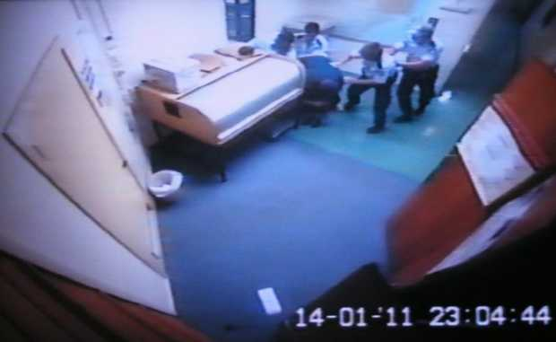 CCTV footage in Ballina Police Station taken on January 14th 2011 of Corey Barker being allegedly bashed.
