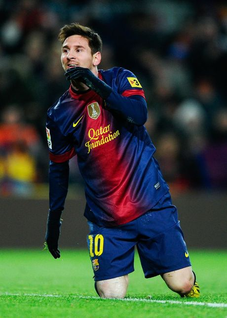 Lionel Messi of FC Barcelona looks on during the La Liga match between FC Barcelona and Athletic Club at Camp Nou on December 1, 2012 in Barcelona, Spain.