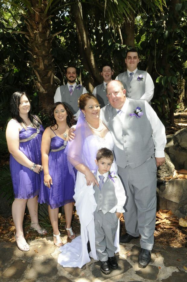 From left, Courtney Miller, Carrie Wheatley, page boy Ethan Wheatley, bride Cheryl McPaul and groom Grant Miller, (back) Zep Wheatley, Anthony Miller and Jake McPaul Photo: Bev Lacey / The Chronicle