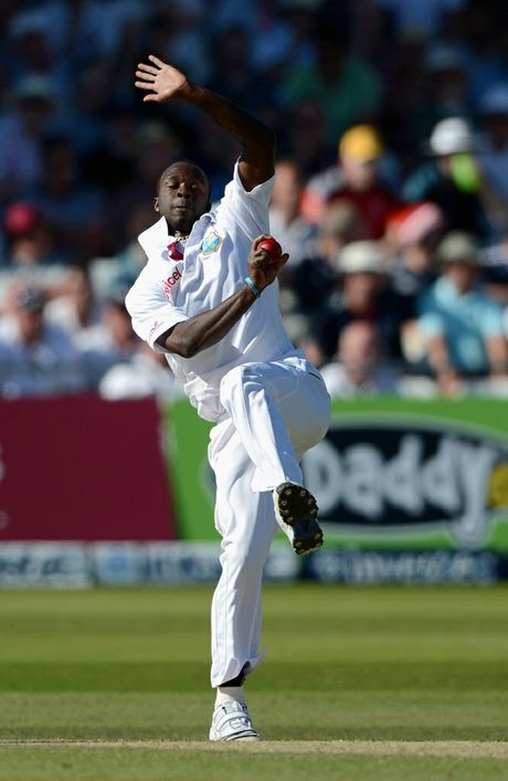 Kemar Roach of the West Indies bowls during day two of the second Test match between England and the West Indies at Trent Bridge on May 26, 2012 in Nottingham, England.