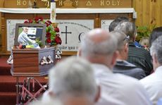 MUCH MISSED: Mourners at the funeral of long-serving councillor Neil Zabel at Lowood Lutheran Church.