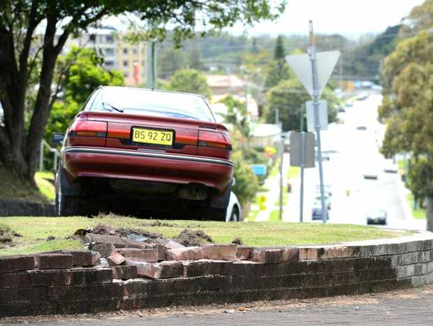 This stolen car was left in a strange position.