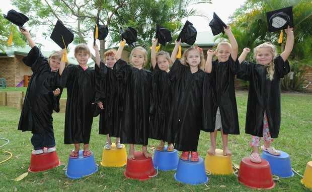 Preschoolers Madeleine, Jordan, Georgia, Rebecca, Sakura, Dylan, Jack and Makyia were some of the 30 students graduating from Community Kids Urangan.
