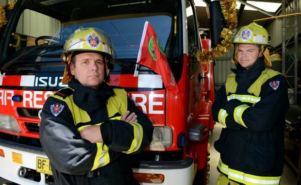 Retained fire fighters Shane Morse and Todd Arnell at the Kingscliff fire station. Photo: John Gass / Daily News