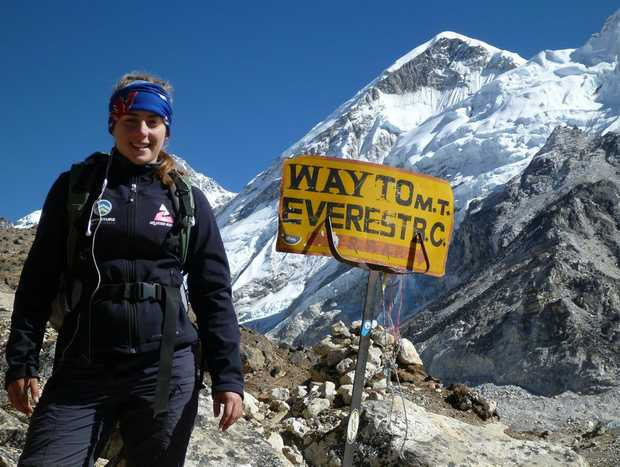 Alyssa Azar at Base Camp in Nepal.
