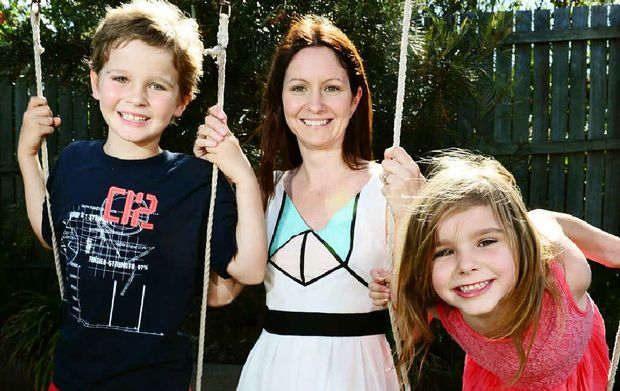 GROWING STRONG: Lisa Roper of Deebing Heights with children Chad, 7, and Sophie, 5.