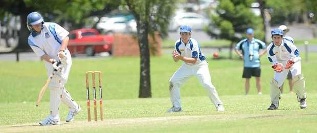 WAITING FOR AN EDGE: Trinity slips fieldsman Sam Martin and wicketkeeper Tom Fiedler during play in the Marist Carnival in Lismore.
